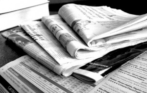 Newspapers B&W, © 2011 Jon S, Flickr | CC-BY | via Wylio