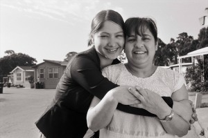 Maria Hernandez, a Santa Cruz Reclaiming Futures participant, with her mom.